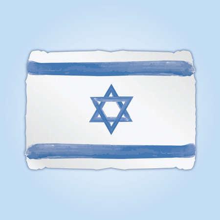 Flag of Israel with paint brush color on blue background. Ilustração