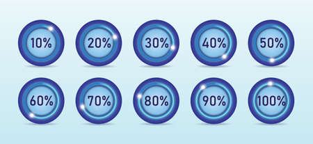 Loading process in different percentage round shape vector illustration in light blue background.
