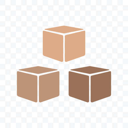 Brown packaging boxes with different color on transparent background.