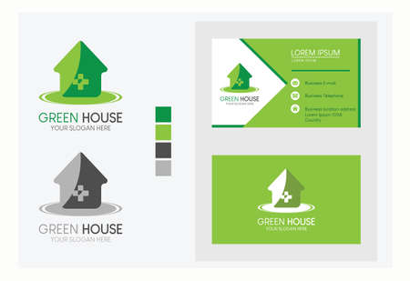 Business card with logo green color of house vector illustration on light gray background.