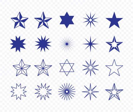 Set of different blue star shape vector illustration on transparent background.