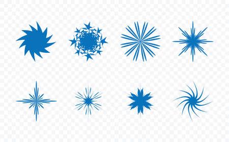 Set of different unique creative star shape vector illustration on transparent background.