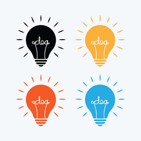 Bulb lamp with idea text inside in different color on light gray background. Ilustração