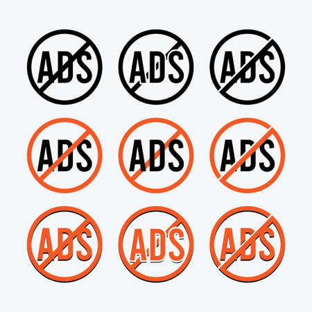 No ads circle sign icon in different color and look on light gray background.
