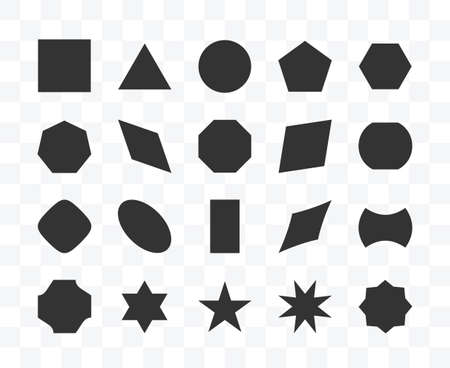 Set of different shape geometric icon isolated vector illustration on transparent background.