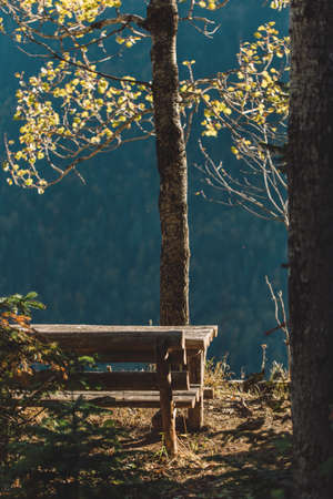 bench and table with a beautiful view of autumn in a mountain camping Banque d'images