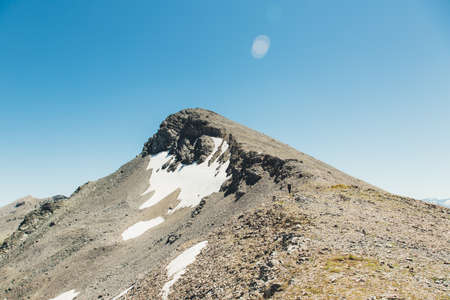 Backpacking in the mountains in the Caucasus, the pass Fedoseyev