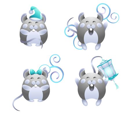 Happy fatty little round rat mice. Set of joyful gray mice girls with a bow and boys with a Christmas hat, lantern, pattern. On a white isolated background. Use for holiday greetings. Vector stock.