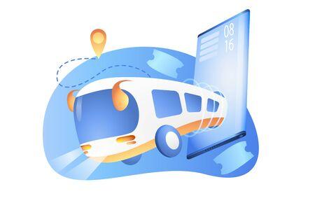 Horaires des bus par téléphone. Commande de billets de bus via l'application mobile. Bus de ville. Bus avec application de carte sur téléphone mobile. Itinéraire de transport pour les étudiants. Mouvement urbain et rural.