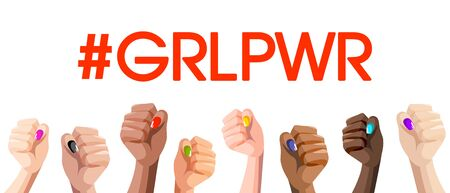 Girl Power GRL PWR. Realistic style female different race hands fists, isolated vector white background. Illustration fight like a girl power in a happy womens day. LGBT Woman gender symbol feminism.