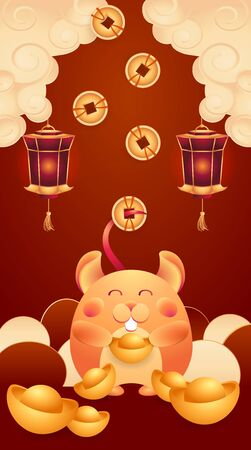 Vector on burgundy gradient background wishes you happiness. Happy mouse, rat, symbol Chinese New Year 2020, with gold ingot, red lights, CNY among the pastel clouds. Stock illustration asian holiday.