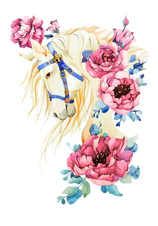 Use for spring holliday, festival, greeting. Elegant white horse vector stock illustration with mane, nave blue royal harness, gold emblem, pink peony rose in watercolor style on isolated background. Ilustração