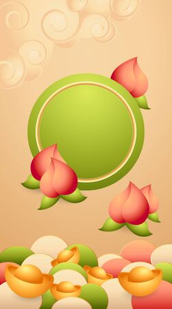 Traditional spring festival oriental banner green round shapes template, gold ingot, pink peaches of longevity. Vector stock illustration for Chinese New Year background. For greeting, celebration. Vektorové ilustrace
