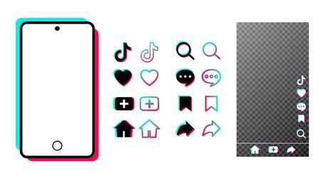 Tiktok mobile Benutzeroberfläche mit Farbsymbol-App. Social Media-Rahmen und Chat-Vorlage auf weißem Hintergrund isoliert. Tik Tok-Bildschirm des Netzwerkbeitrags. Vektor-Illustration. Flache moderne Benutzeroberfläche für Video, Bloggen. Vektorgrafik