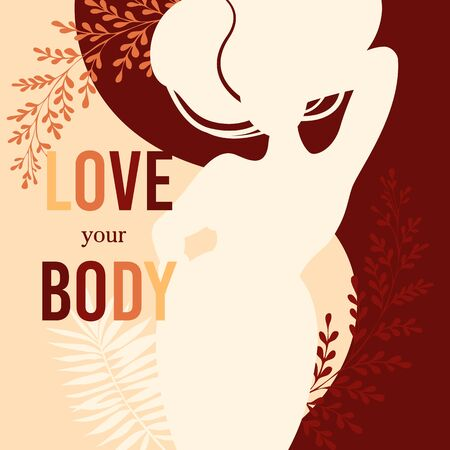 Female love and care yourself, body. Positive beauty women in flat style stock vector illustration with herbal leaves background. Girl of size plus figure type silhouette. Take time for your self.  イラスト・ベクター素材