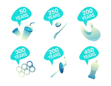 How long decompos plastic illustration. Time decomposition rates of waste, garbage on white background. Vector stock isolated objects comparison: glass, fork and package, straw, bottle, rings for cans