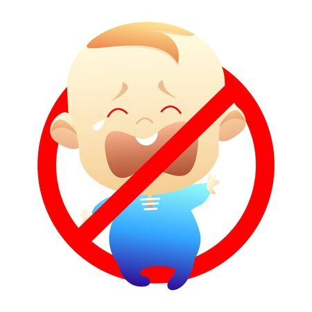 Vector stock isolated childfree or voluntary childlessness. Illustration icon for childless by choice. Crying child free symbol with red prohibitory sign on white background. Baby ban, no children