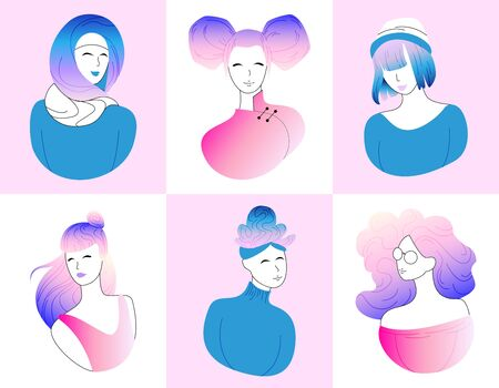 Collection of profile avatar, heads of female, girl characters. Template woman face in outline, minimal portrait vector stock illustration. Set of diverse women flat contour. Modern gradient character