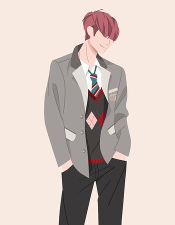 Character teenager of college, school in uniform: suit, jacket, tie, pants. Young smiling student standing vector illustration. Bright boy in hand drawn flat. Millennial generation. Youth lifestyle. Standard-Bild - 146377113