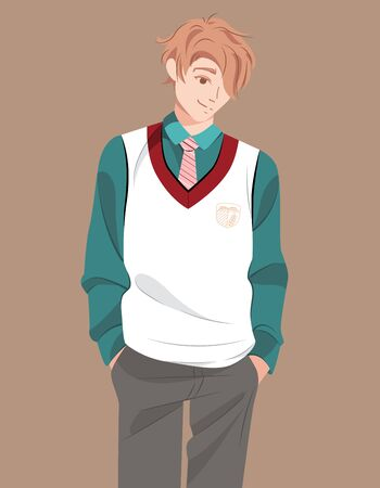 Young smiling student of university or school in uniform. Millennial generation character teen. Happy adolescent boy in flat style. Youth lifestyle. Guy in casual clothes. Vector stock illustration. Stock Illustratie