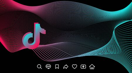 Futuristic abstract blue red gradient wave line. Tik Tok digital dynamic on black background, contrast flow with icons. For web design template, network, stream or blog page. Vector stock illustration
