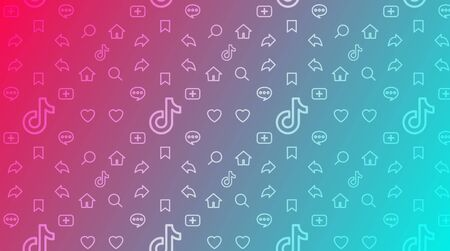 Colorful gradient background with symbol mobile apps. Pattern fond for network, stream or blog Tiktok. Design signs for Tik Tok interface. Template application user page. Vector stock illustration.