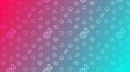 Fond dégradé coloré avec des applications mobiles de symboles. Motif friand de réseau, stream ou blog Tiktok. Concevoir des panneaux pour l'interface Tik Tok. Modèle de page utilisateur de l'application. Illustration vectorielle de stock.