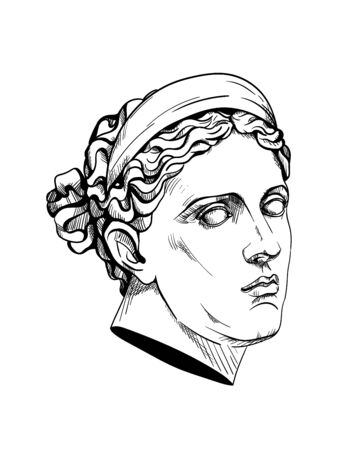 Bust of Diana Huntress or Artemis, ancient Greek god. Linear contour sketch of marble greece or rome statue. Plaster head in engraving style. Ink line drawing art sculpture. Vector stock illustration.