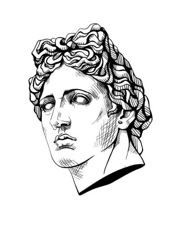 Bust of Apollo, the ancient Greek god. Linear contour sketch of marble greece or rome statue. Plaster head of face man in engraving style. Ink line drawing art sculpture. Vector stock illustration.