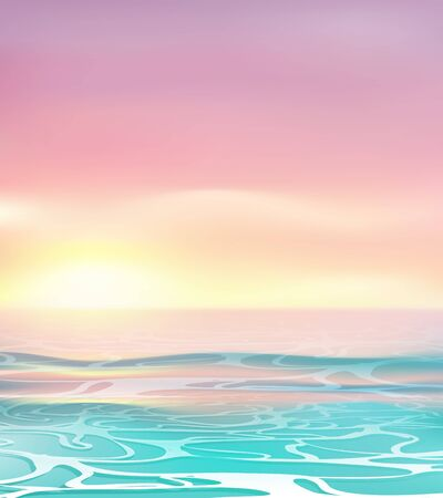 Sunset or sunrise in ocean. Nature landscape background. Pink clouds in sky to shining sun above sea surface. Realistic evening or morning view. Sunrays under wave horizon. Vector stock illustration.