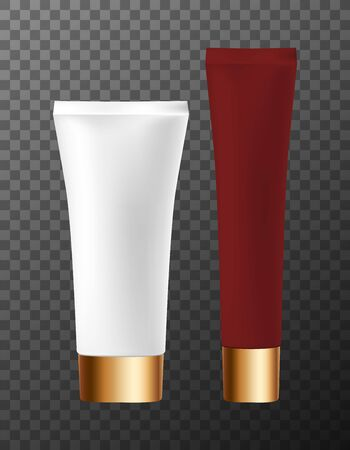 Cosmetic skin, health, hair care tubes with screw cap. Set realistic bottle glossy texture on isolated background. Plastic tube vector illustration. Container blank for cream, gel, toothpaste mockup.