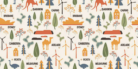 Australia seamless pattern with simbol animals, city names for textile. Background with wind farm, Canberra, Sydney Opera House, kangaroo, ostrich, camel, desert and cactus. Vector stock illustration