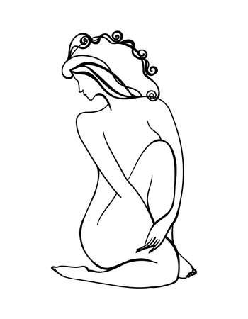 One line drawing beauty woman hugs yourself. Hand drawn young girl silhouette. Body positive sketch in black color. Female outline figure isolated. Isolated white background. Vector stock illustration