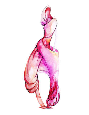 Watercolor fashion model in colorful pink clothes.  イラスト・ベクター素材