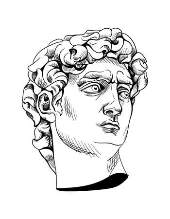 Bust statue of David, italian artist Michelangelo isolated.