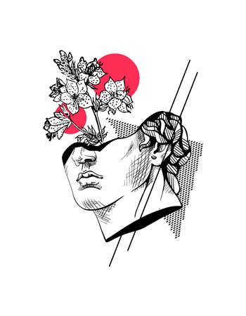 Creative trendy abstract poster with sculpture of Apollo, flower and geometric shapes. Hand drawn ink lines marble bust of male head. Concept art of sliced, vaporwave design. Vector stock illustration