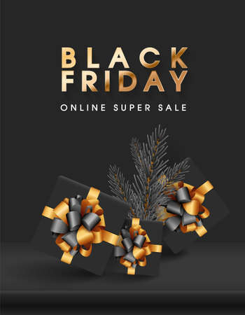 Black Friday Online Sale text banner. Dark background golden text lettering. Shelf or podium with realistic black gifts boxes with gold bows and christmas tree branches. Vector stock illustration.