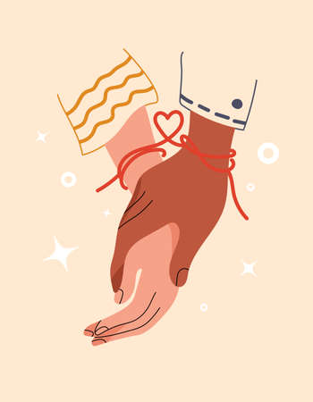 Red thread of fate tied kindred spirits or soulmate. Symbol of eternal love or friendship. Eastern promise of love. Red string with heart shape on hands of couple in love. Vector stock illustration.