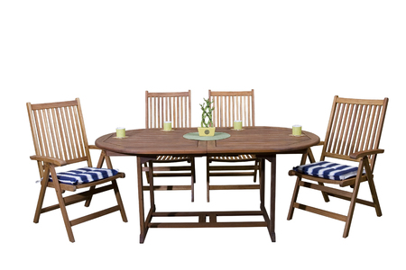 Wooden garden furniture with coffee cups end live bamboo decoration, isolated on white background