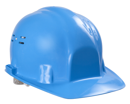 gewerkschaft: Blue helmet isolated on white background isolated on white background