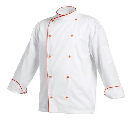Het jasje van de witte chef-kok met oranje randen, dat over witte achtergrond wordt geïsoleerd