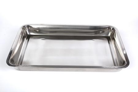 white backing: Metal backing tray on white background Stock Photo