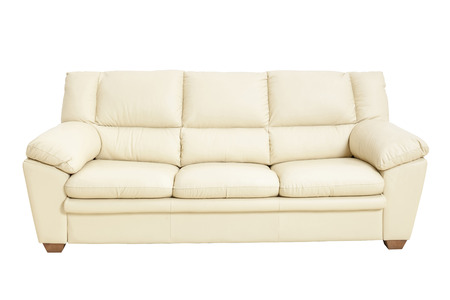 Three seats cozy leather sofa in nice champagne color, isolated on white - Stock image with clipping path.Sofa, Leather, Decor, Furniture, Home Interior Stockfoto
