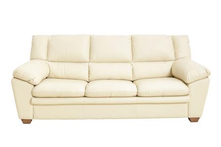 Trzy fotele wygodna skórzana sofa w ładnym kolorze szampana, na białym tle - Zdjęcie stockowe ze ścieżką przycinającą. Sofa, skóra, dekoracje, meble, wnętrze domu Zdjęcie Seryjne