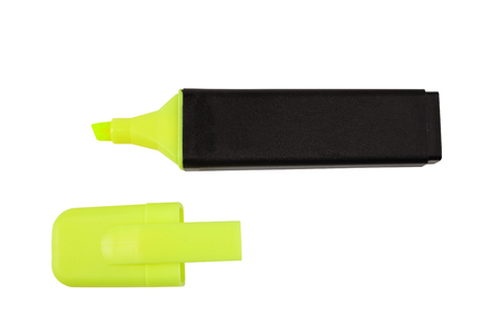 Flourescent yellow-green text and graphics highlighter pen with cap, isolated on white with clipping path.