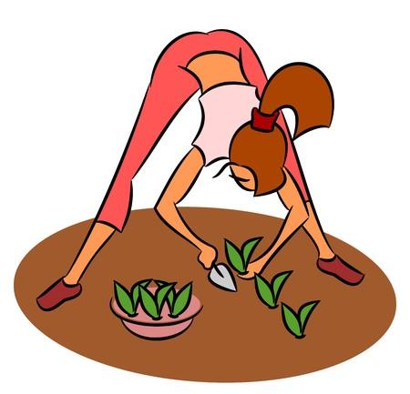 planting: Girl planting seedlings Illustration