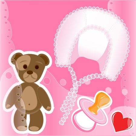 adjusted: set for newborns girls - the isolated clip art for design registration