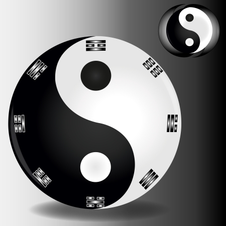 contradiction: harmony sign Ying and YANG as symbol of balance of the Universe