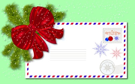 postal envelope  Merry Christmas and New Year  photo