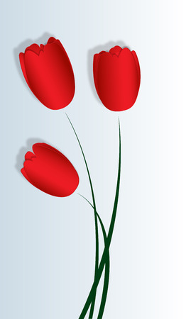 three red satin tulip for the decoration of festive design Vector